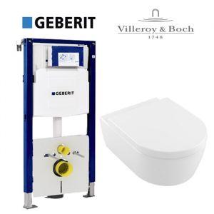 Инсталляция Geberit Duofix (3-в-1) комплект 111.300.00.5 с унитазом Villeroy & Boch AVENTO Directflush 5656HR01 + (сиденье Soft Close)