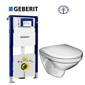 Инсталляция Geberit Duofix (3-в-1) комплект 111.300.00.5 с унитазом Gustavsberg Nautic 5530 + (сиденье Soft Close)