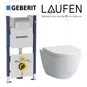 Инсталляция Geberit Duofix (4-в-1) комплект 458.161.21.1 с унитазом LAUFEN PRO Rimless  (без ободка) 8.2096.6.000.000.1 + (сиденье Soft Close)