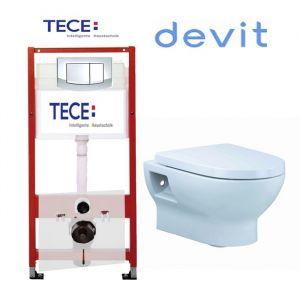 Инсталляция Tece (4-в-1) комплект 9400005 с унитазом Devit Fresh 3020121 + ( сиденье Soft Close)