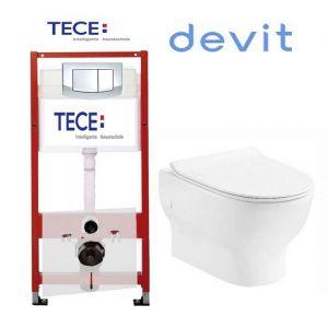 Инсталляция Tece (4-в-1) комплект 9400005 с унитазом Devit Fresh 3120121 + ( сиденье Soft Close) Slim