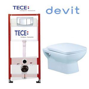 Инсталляция Tece (4-в-1) комплект 9400005 с унитазом Devit Comfort 3020123 + ( сиденье Soft Close)