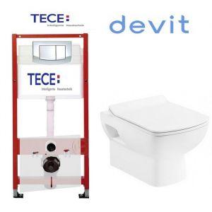 Инсталляция Tece (4-в-1) комплект 9400005 с унитазом Devit Comfort 3120123 + ( сиденье Soft Close) Slim