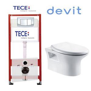 Инсталляция Tece (4-в-1) комплект 9400005 с унитазом Devit Aurora 3020128 + ( сиденье Soft Close)