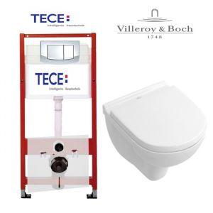 Инсталляция Tece (4-в-1) комплект 9400005 с унитазом Villeroy & Boch O.NOVO 5688H101 + ( сиденье Soft Close)