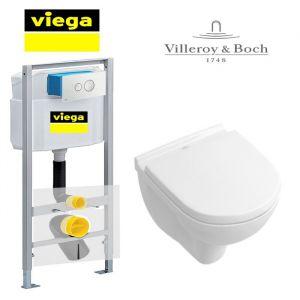 Инсталляция Viega Eco 713386 (4-в-1)  комплект с унитазом Villeroy & Boch O.NOVO 5688H101 + (сиденье Soft Close)