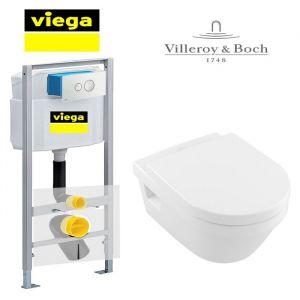 Инсталляция Viega Eco 713386 (4-в-1)  комплект  с унитазом Villeroy & Boch Omnia Architectura Directflush 5684HR01 + ( сиденье Soft Close)