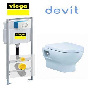 Инсталляция Viega Eco 713386 (4-в-1)  комплект  с унитазом Devit Fresh 3020121 + ( сиденье Soft Close)