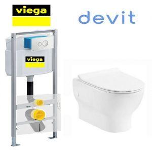 Инсталляция Viega Eco 713386 (4-в-1)  комплект  с унитазом Devit Fresh 3120121 + ( сиденье Soft Close) Slim