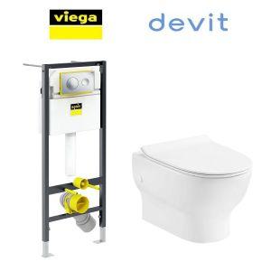 Инсталляция Viega Prevista Dry кнопка Style 20 с унитазом Devit Fresh 3120121 + сиденье Soft Close Slim