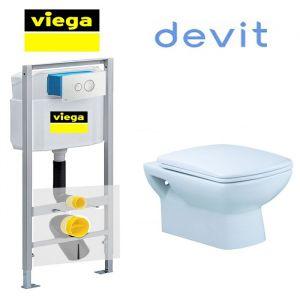 Инсталляция Viega Eco 713386 (4-в-1)  комплект с унитазом Devit Comfort 3020123 + (сиденье Soft Close)