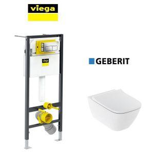 Инсталляция Viega Prevista Dry кнопка Life 5 с унитазом Geberit Smyle Square 500.683.00.2 + сиденье Soft Close
