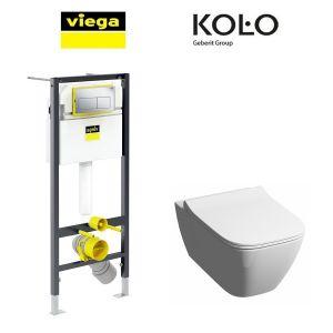 Инсталляция Viega Prevista Dry кнопка Life 5 с унитазом Kolo Modo Pure + крышка SoftClose Slim