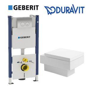 Инсталляция Geberit Duofix (4-в-1) комплект 458.161.21.1 с унитазом Duravit Vero 2217090064 + (сиденье Soft Close)
