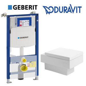 Инсталляция Geberit Duofix (3-в-1) комплект 111.300.00.5 с унитазом Duravit Vero 2217090064 + (сиденье Soft Close)