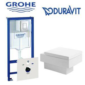 Инсталляция Grohe Rapid SL (4-в-1) комплект 38775001 с унитазом Duravit Vero 2217090064 + (сиденье Soft Close)