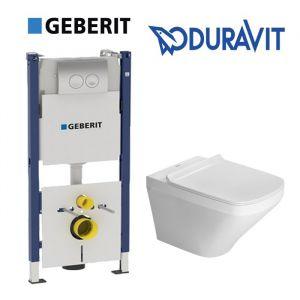 Инсталляция Geberit Duofix (4-в-1) комплект 458.161.21.1 с унитазом Duravit Durastyle 255109000 + (сиденье Soft Close)