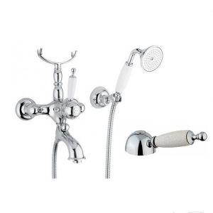 Смеситель Oxford для ванны моноком-й в комплекте (душ+держатель+подставка) Bugnatese c ручкой Кракель бронза