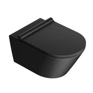 Унитаз подвесной Newflush (безободковый) Catalano New Zero с сиденьем Soft Close Plus, чёрный матовый