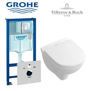 Инсталляция Grohe Rapid SL (4-в-1) комплект 38775001 с унитазом Villeroy&Boch O.Novo Directflush 5660HR01+ (сиденье Soft Close)