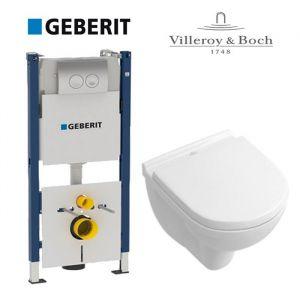 Инсталляция Geberit Duofix (4-в-1) комплект 458.161.21.1 с унитазом Villeroy&Boch O.Novo Directflush 5660HR01+ (сиденье Soft Close)