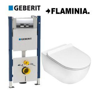 Инсталляция Geberit Duofix (4-в-1) комплект  458.168.21.1 с унитазом Flaminia APP  AP118 (сиденье Soft Close) Slim