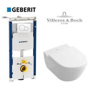 Инсталляция Geberit Duofix (4-в-1) комплект 111.362.00.5 с унитазом Villeroy & Boch Subway 56001001 + (сиденье Soft Close)