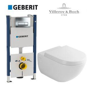 Инсталляция Geberit Duofix (4-в-1) комплект 458.178.21.1 с унитазом Villeroy & Boch Subway 66001001 + ( сиденье Soft Close)