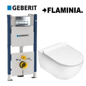 Инсталляция Geberit Duofix (4-в-1) комплект  458.178.21.1 с унитазом Flaminia APP Goclean (без ободка) AP118G (сиденье Soft Close) Slim