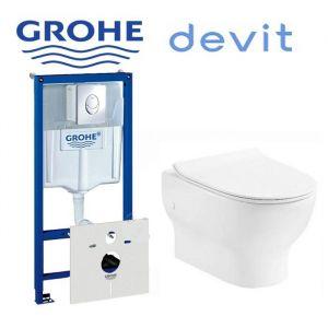 Инсталляция Grohe Rapid SL (4-в-1) комплект с унитазом  Devit  Fresh + ( сиденье Soft Close)