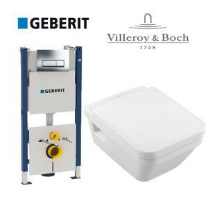 Инсталляция Geberit Duofix (4-в-1) комплект 458.178.21.1 с унитазом Villeroy & Boch Architectura 5685H101 + ( сиденье Soft Close)