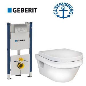 Инсталляция Geberit Duofix (4-в-1)  комплект 458.121.21.1 с унитазом Gustavsberg Hygienic Flush (5G84HR01) + ( сиденье Soft Close)