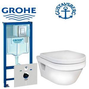 Инсталляция Grohe Rapid SL (4-в-1) комплект 38772001 с унитазом Gustavsberg Hygienic Flush (5G84HR01) + ( сиденье Soft Close)
