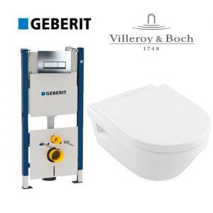 Инсталляция Geberit Duofix (4-в-1) комплект 458.178.21.1 с унитазом Villeroy & Boch Omnia Architectura Directflush 5684HR01 + ( сиденье Soft Close)