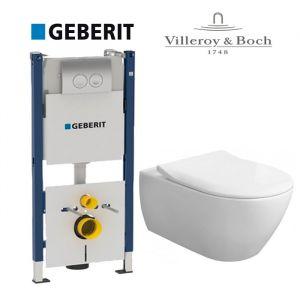 Инсталляция Geberit Duofix (4-в-1) комплект 458.161.21.1 с унитазом Villeroy & Boch Subway Directflush 5614HR01 + ( сиденье Soft Close) Slim
