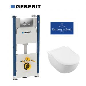 Инсталляция Geberit Duofix (4-в-1) комплект 458.161.21.1 с унитазом Villeroy&Boch Subway Directflush (безободковый) 5614R201 + сиденье Soft Close Slim