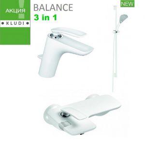 Набор смесителей для ванны Kludi Balance белый/хром