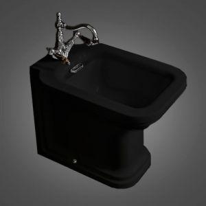 Биде напольное Kerasan Waldorf чёрный, фурнитура хром