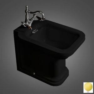 Биде напольное Kerasan Waldorf 55х37 см (черный, фурнитура - золото)