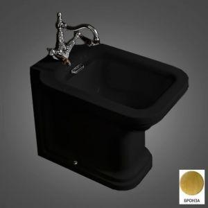 Биде напольное Kerasan Waldorf (черный, фурнитура - бронза)