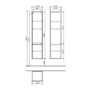 Шкаф-пенал дверца с петлями слева Villeroy & Boch Subway 2.0  350 x 1650 x 370 мм (цвет - Elm Impresso)
