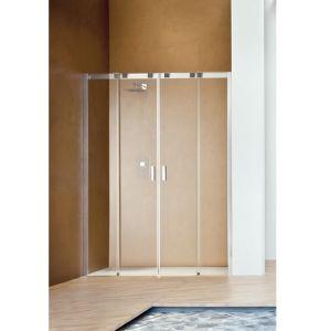 Раздвижная дверь с центральным входом для ниши Duka Acqua R 5000 160х200 см (профиль - хром; стекло - прозрачное)