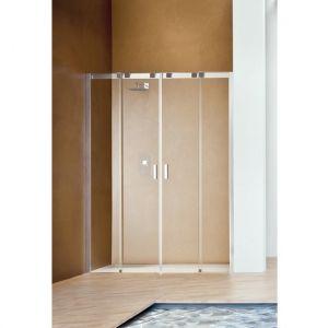 Раздвижная дверь с центральным входом для ниши Duka Acqua R 5000 180х200 см (профиль - хром; стекло - прозрачное)
