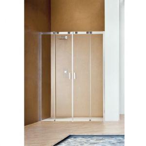 Раздвижная дверь с центральным входом для ниши Duka Acqua R 5000 200х200 см (профиль - хром; стекло - прозрачное)