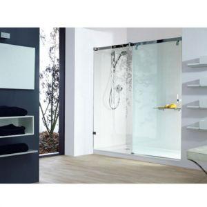 Раздвижная дверь в нишу с неподвижным сигментом, c частичным обрамлением Huppe Vista pure (cтекло - прозрачное Anti-Plaque; профиль - глянцевый хром)