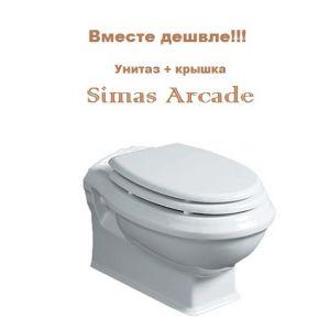 Унитаз подвесной Simas Arcade с крышкой soft белая/хром