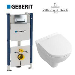 Инсталляция Geberit Duofix (4-в-1) комплект 458.178.21.1 с унитазом Villeroy&Boch O.Novo Directflush 5660HR01+ (сиденье Soft Close)