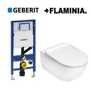 Инсталляция Geberit Duofix (3-в-1) комплект 111.370.00.5 с унитазом Flaminia APP AP118 (сиденье Soft Close) Slim