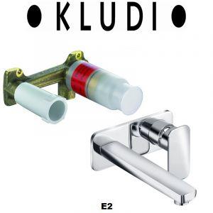 Комплект смеситель для раковины и внутренняя часть Kludi E2 (цвет - хром)