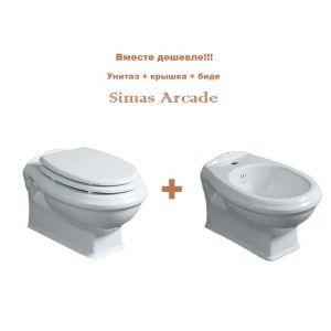 Унитаз подвесной Simas Arcade + сиденье для унитаза, белое, петли хром + биде подвесное Simas Arcade